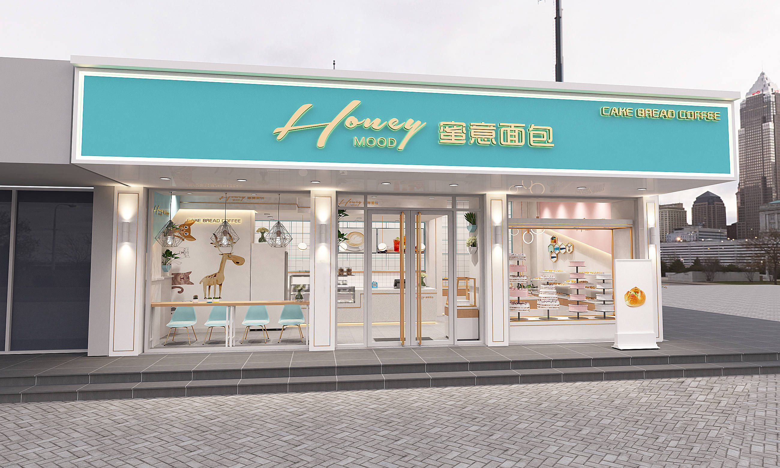 深圳南山蜜意面包店设计装修